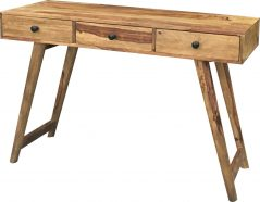 Two tone sheesham wood study desk console table with 3 drawers