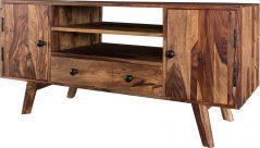 Two tone sheesham wood plasma TV stand-media unit