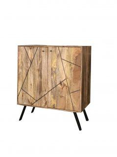 Urban Retro Range Industrial Style Light Mango Wood Drinks Cabinet Wine Rack