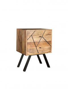 Urban Retro Range Industrial Style Light Mango Wood 2-drawer Lamp Table