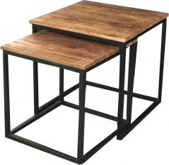 industrial contemporary style light mango wood nest of 2 tables with metal iron stand