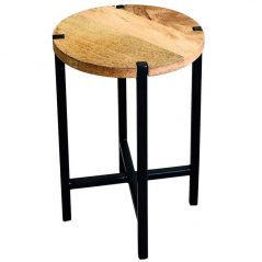 industrial style light mango wood round stool side table with metal iron stand