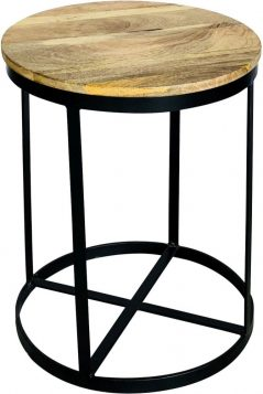 industrial style light mango wood round stool table with metal iron stand