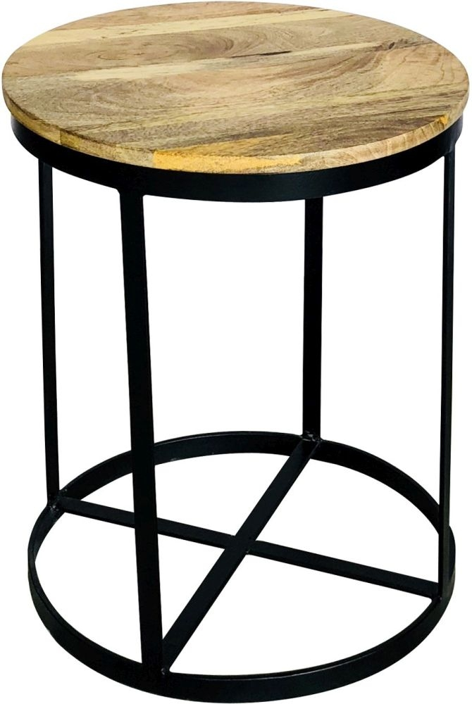 Industrial Style Light Mango Wood Round Side Table With A Metal Frame