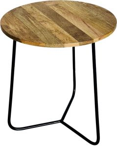 industrial style light mango wood round table with metal iron stand