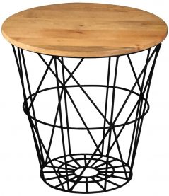 industrial style light mango wood round table with solid metal iron stand