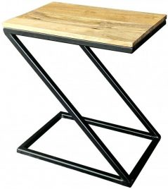 industrial style light mango wood z shape side table with metal iron stand