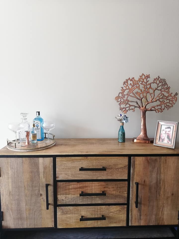 Industrial Style Light Mango Wood 2 Door 3 Drawer Sideboard