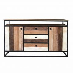 Industrial Style Reclaimed Mango Wood Sideboard with Metal Frame