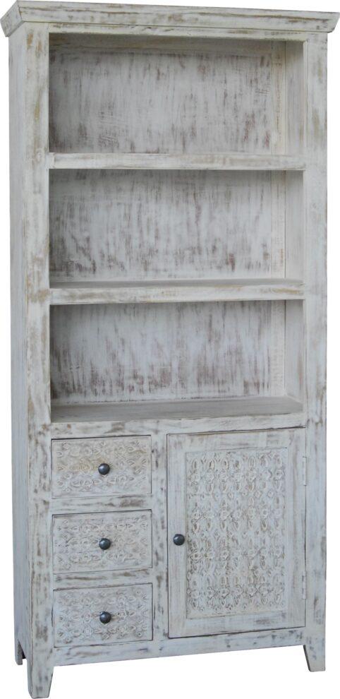 Hampi limed washed carved mango wood bookcase