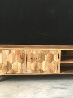 light mango wood TV stand media unit with hexagonal patterns
