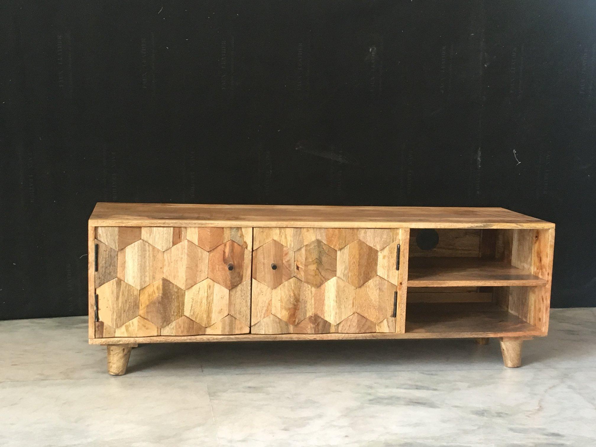 Light Mango Wood Tv Stand Media Unit With Hexagonal Patterns