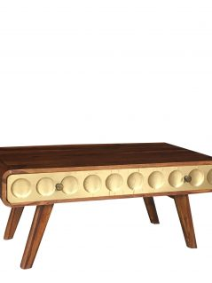 Retro style sheesham wood coffee table with metal clad brass covered drawers
