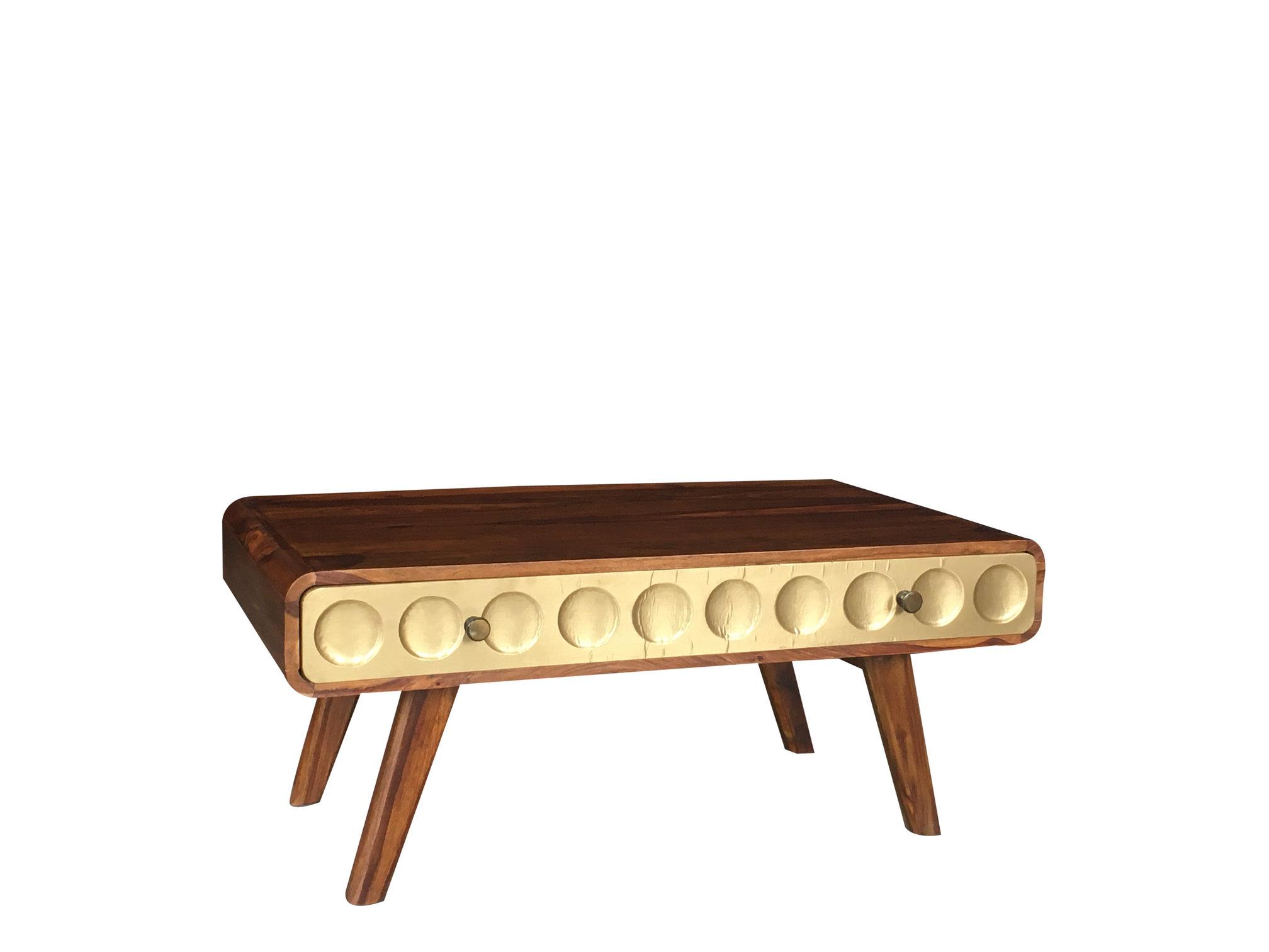 Swell Retro Style Sheesham Wood Coffee Table With Brass Effect Finish Drawer Evergreenethics Interior Chair Design Evergreenethicsorg