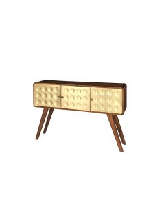 Retro style sheesham wood console table/cabinet with 3 metal clad brass covered drawers