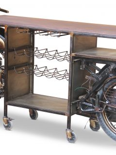 retro upcycled motorbike wine rack bar table