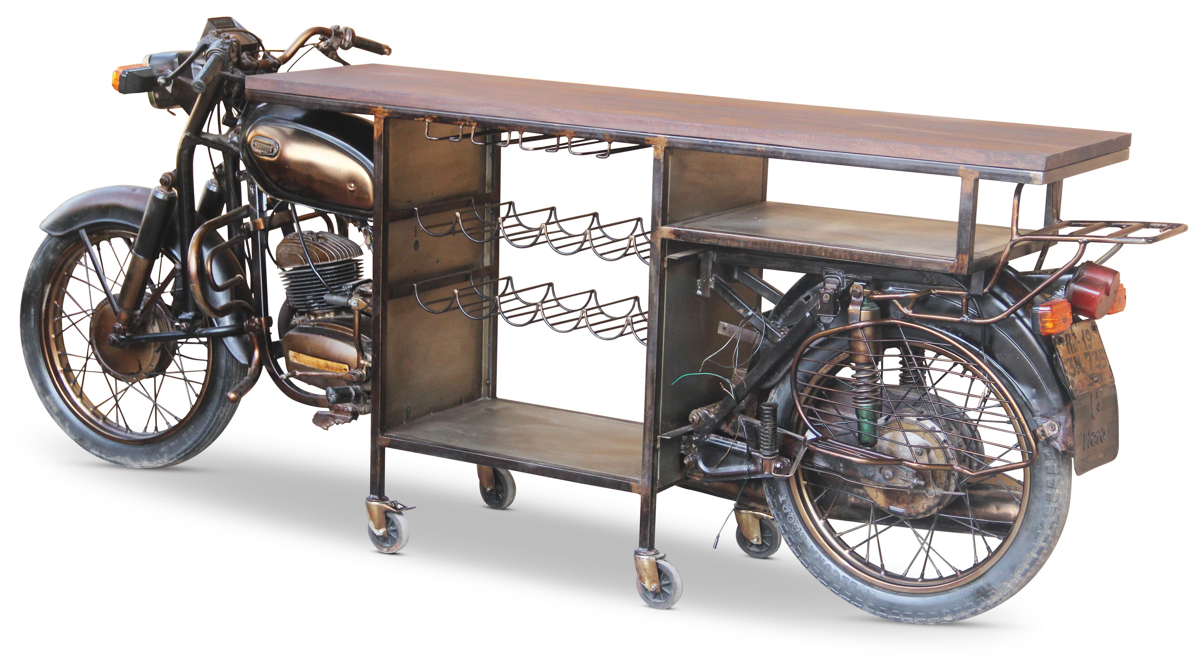 Retro Upcycled Motorbike Wine Rack Bar Table