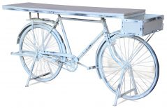 retro upcycled white washed bike table