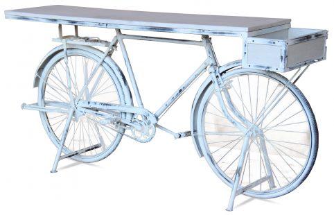 retro upcycled white washed bike table