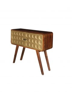 Retro style sheesham wood console table/cabinet with 2 metal clad brass covered drawers