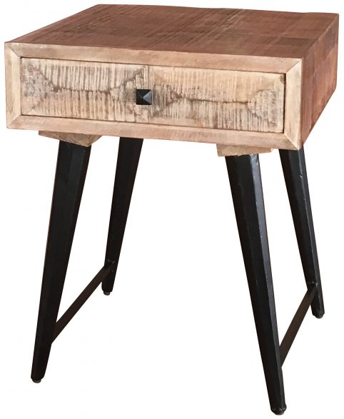 Pyramid range contemporary/ industrial style lamp table with angled paneling and metal legs