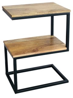 Industrial style light mango wood S-shape side table with metal frame