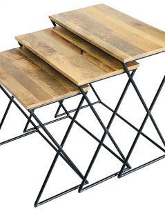 Industrial style light mango wood X stool set 3 pcs with metal frame