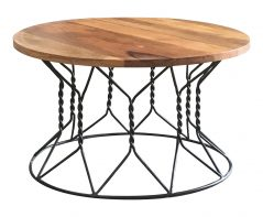 Industrial style light mango wood coffee table with metal frame