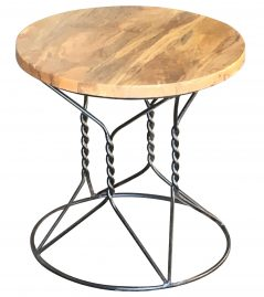 Industrial style light mango wood stand with metal frame