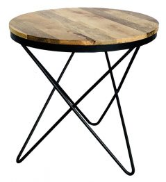 Industrial style light mango wood round side table with metal frame