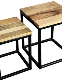 Industrial style light mango wood set of 2 stool with metal frame