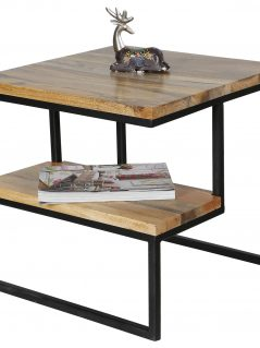 Industrial style light mango wood side table with metal frame