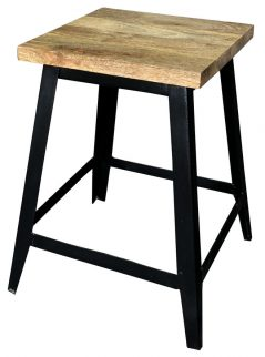 Small industrial style light mango wood stool with metal frame
