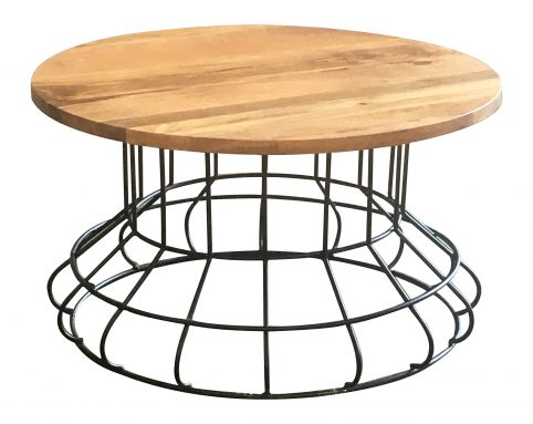 Industrial style light mango wood top coffee table with metal frame