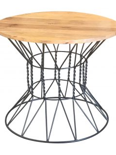 Industrial style light mango wood top dining table with metal frame