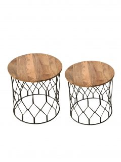 Industrial style light mango wood top side table-stool with metal frame