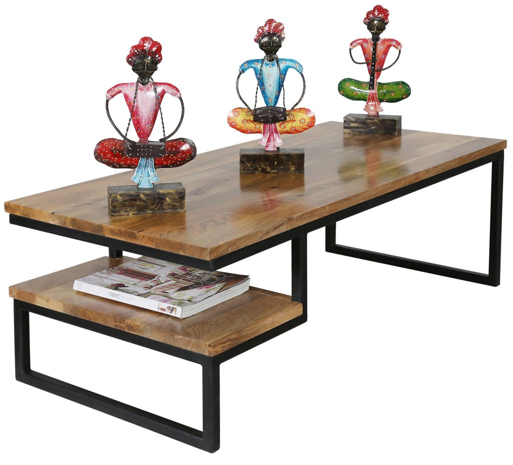 light mango wood industrial style coffee table with metal frame