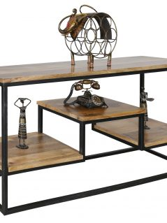 Large industrial style light mango wood console table with metal frame