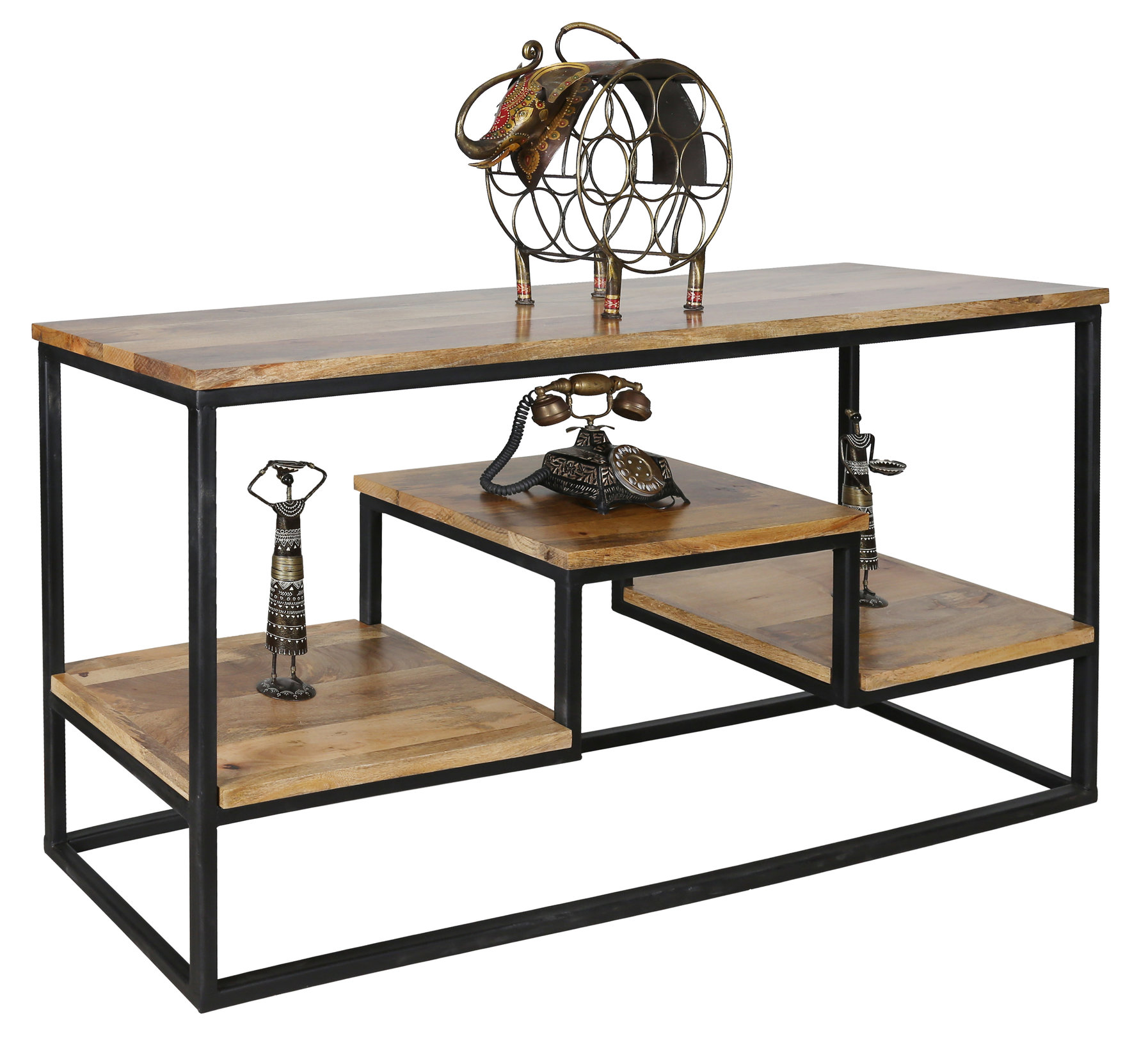 Table Bois Metal Design: Large Industrial Style Light Mango Wood Console Table With