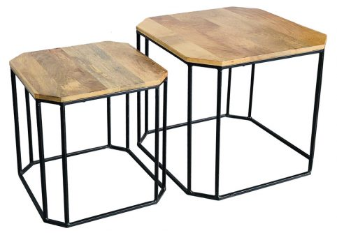 Small and large industrial style light mango wood side table with metal frame