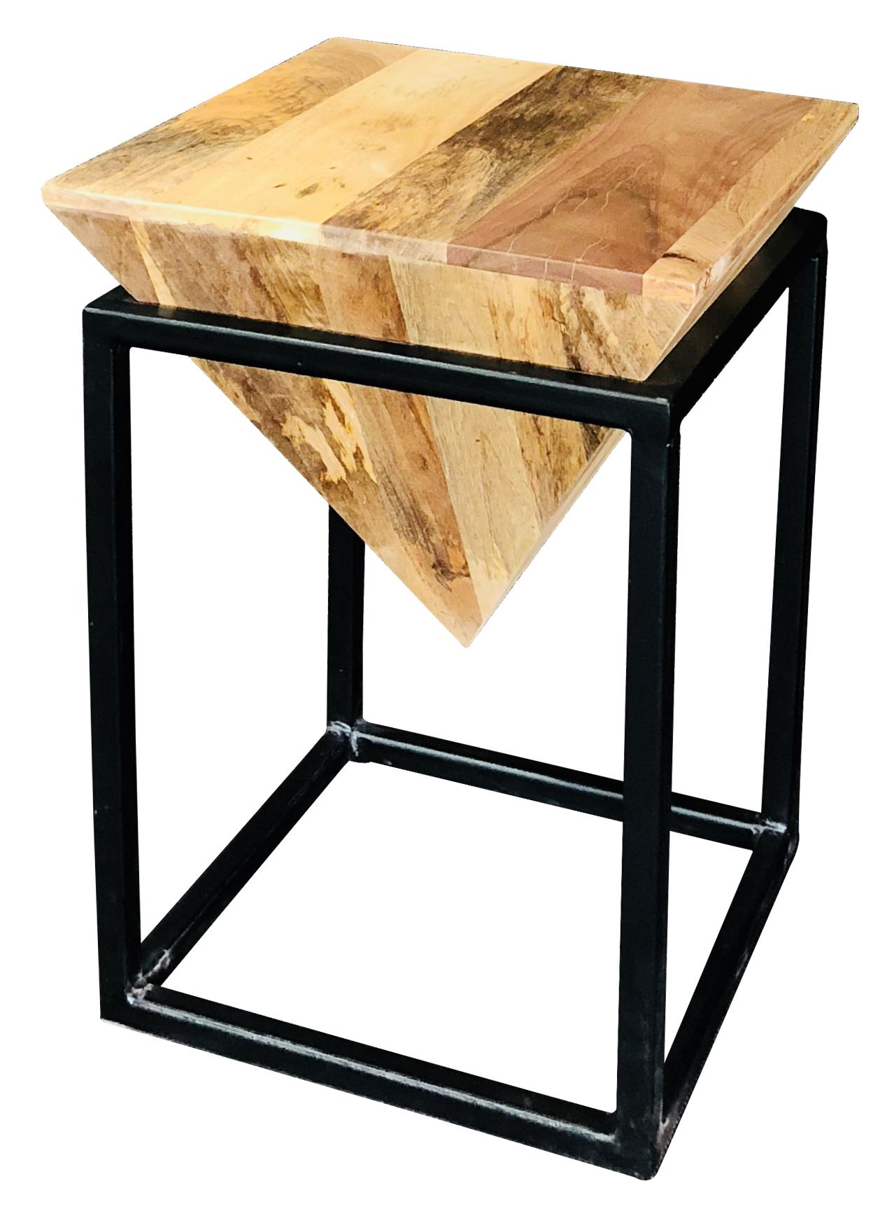Surprising Small Industrial Style Geometric Light Mango Wood Stool Machost Co Dining Chair Design Ideas Machostcouk