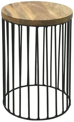 industrial contemporary style light mango wood round table with metal iron stand