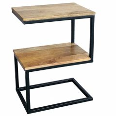 industrial style light mango wood S shaped table with metal iron stand