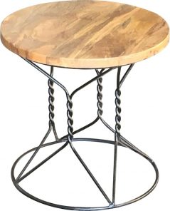 industrial style light mango wood round stand side table with metal iron stand