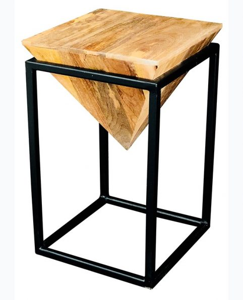 industrial style pyramid shape light mango wood side table with solid iron stand