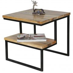 Industrial Style Light Mango Wood Two-Tier Side Table