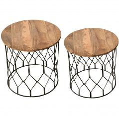 Detailed Industrial Style Light Mango Wood Side Tables (Set of 2)