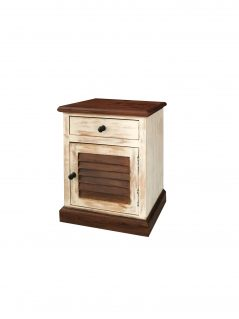 White washed sheesham wood bedside table with shutter style with 1 door and 1 drawer
