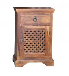 Sheesham Wood Bedside Table with Lattice Door Panel
