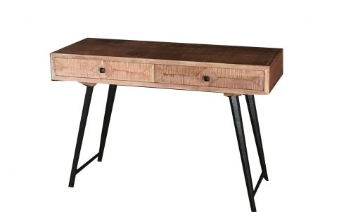 Pyramid range contemporary-industrial style console table with two drawers and metal legs